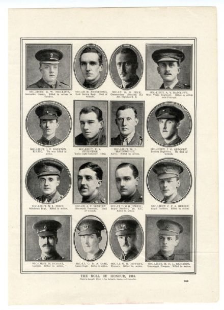 1917 WW1 ROLL OF HONOUR Dudley Jewell REGINALD PECK A C Ratcliffe CHARLES HERSEE Katherine Harley etc.